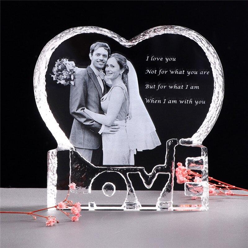 Cadre Photo personnalisé en forme de coeur Photo en cristal personnalisé Album Photo concevoir votre propre ornement Photo cadeau saint-valentin