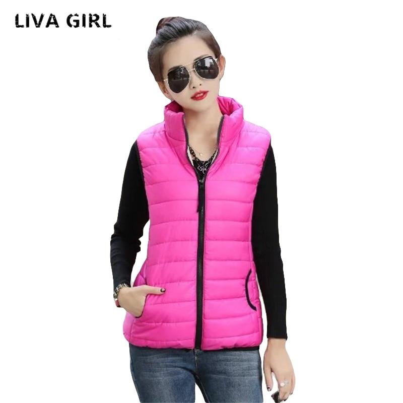 Liva Girl Women Down Coat Winter Stand Collar Solid Warm Thin Female Down Jacket Women Vest Sobretudo Feminino YP70669
