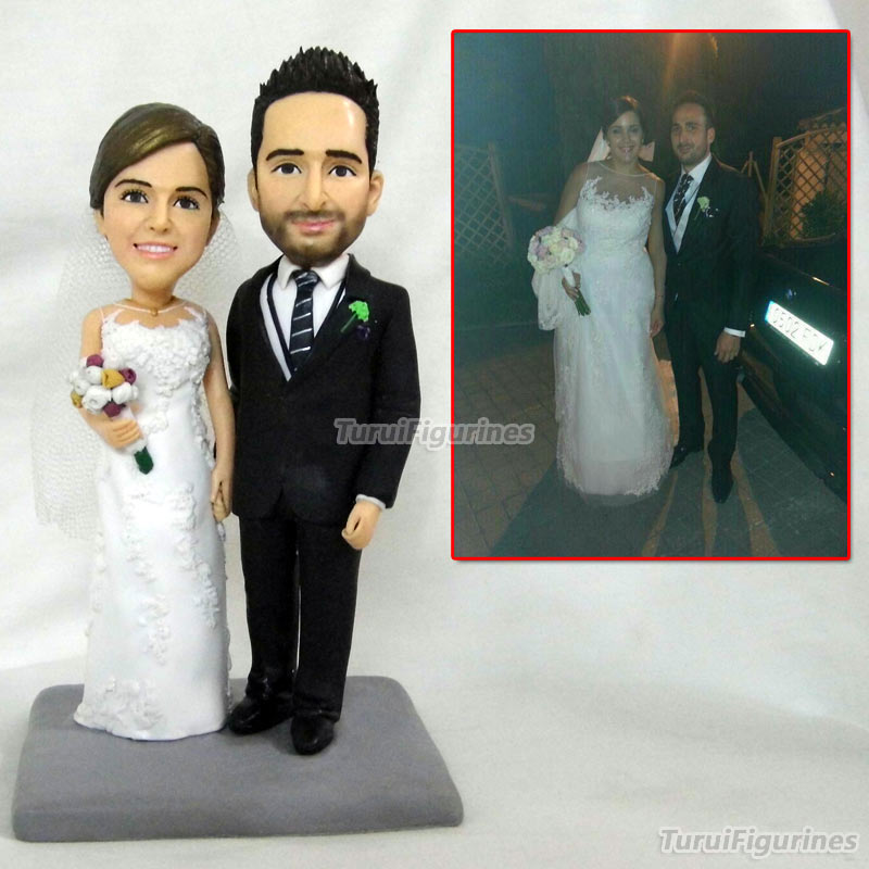 US $149 96 8% OFF|wedding cake topper black couple custom bobblehead  figurine mini couple statue custom bobblehead figures by Turui Figurines  doll-in