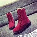 Novas Mulheres Moda Rebanho Botas de Inverno Sapatos Casuais Mocassins Mulheres Botas curtas De Pelúcia Plana Sapatos Feitos À Mão Sapatos de Mulher Botas Meados-C