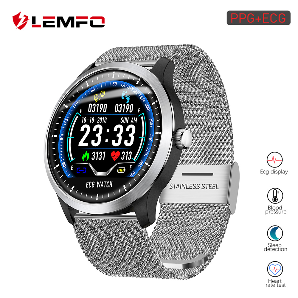 LEMFO 2019 New ECG PPG Smart Watch Men IP67 Waterproof Sport Watch Heart Rate Monitor Blood