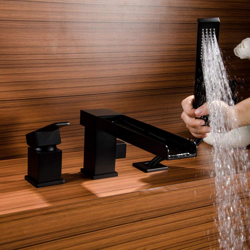 quyanre wanfan frap matte black bathtub faucet watefall long spout single handle mixer tap with pull out handshower bathroom shower faucet1