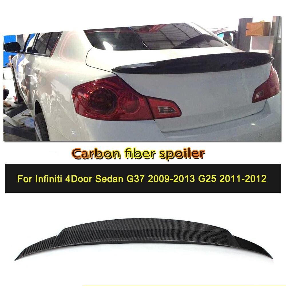 リアトランクウイングリップスポイラーインフィニティ G25 G35 G37 4 ドア 2006-2013 炭素繊維/FRP