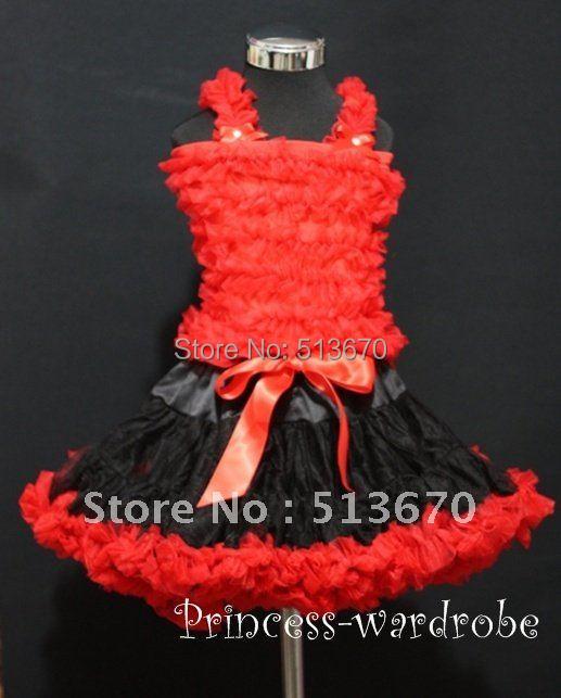 Halloween Black Red Pettiskirt with Matching Red Ruffles Tank Tops MAMR64