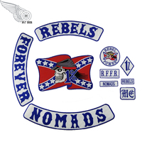 10pcs/ Set NEW REBELS NOMADS FOREVER Embroidered Punk Patches R.F.F.R MC Badge