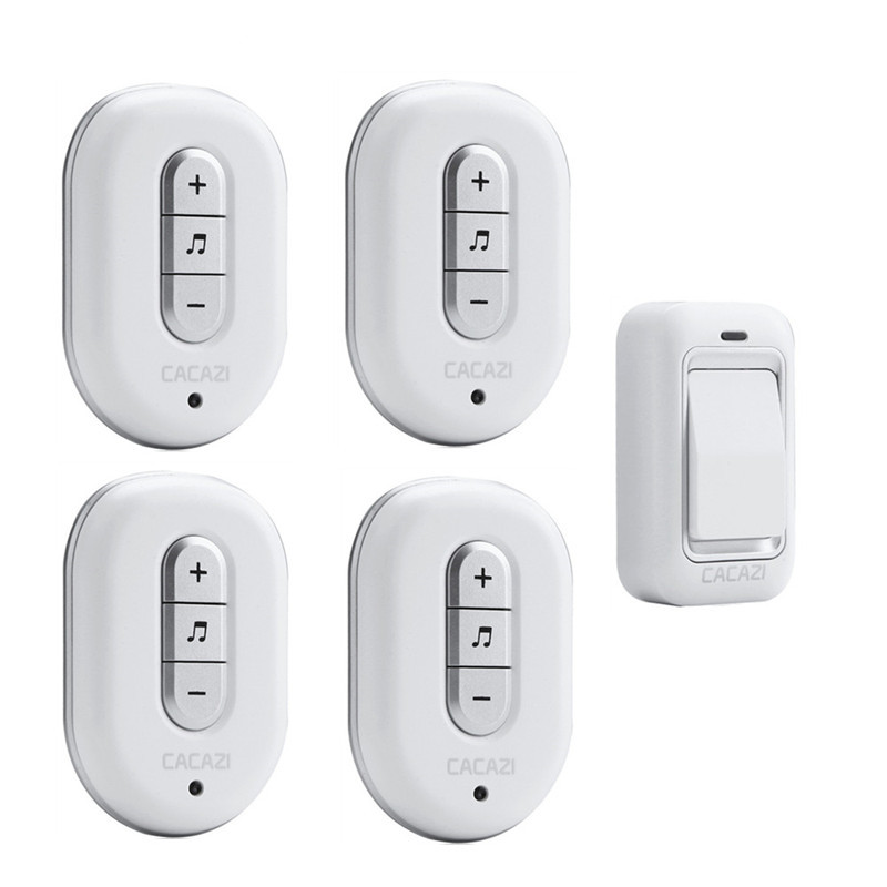 CACAZI Wireless DoorBell No Battery Need Waterproof smart Door Bell Cordless 120M Remote AC 110V-220V 1 transmitter 4 Receivers kinetic cordless smart home doorbell 2 button and 1 chime battery free button waterproof eu us uk wireless door bell