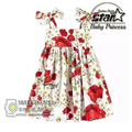 Fashion Girls Dress Red Rose Party Summer Sundress Cotton Child Clothing Christmas Clothes Size 4-13T Girl Dresses Vestidos