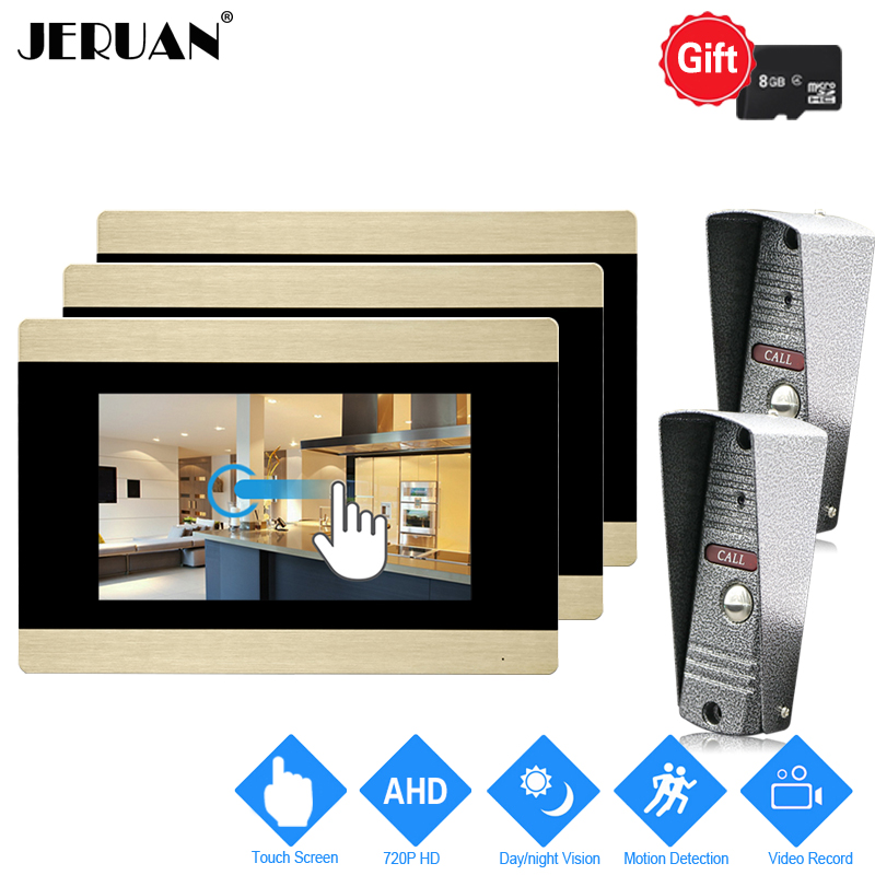 JERUAN 720P AHD HD Motion Detection 7`` Touch Screen Video Door Phone Unlock Intercom System 3 Record Monitor +2 Mini Camera 2V3 jeruan 720p ahd motion detection 7 touch screen video door phone doorbell intercom system 2 record monitor hd ir mini camera
