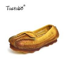 Tastabo женские туфли из натуральной кожи на плоской подошве с острым носком ручной работы, оригинальные Дизайн винтажные Стиль народная Стиль пожилых женская обувь