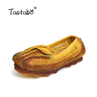 2016 Genuine Leather Women Flats Shoes Pointed Toes Handmade Original Design Vintage Style Folk Style Elderly