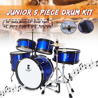 Kids Junior Drum Set 5 Pcs Complete Cymbals Size 16 Black New Drum Musical Instruments Play Learning Educational Toy Gift