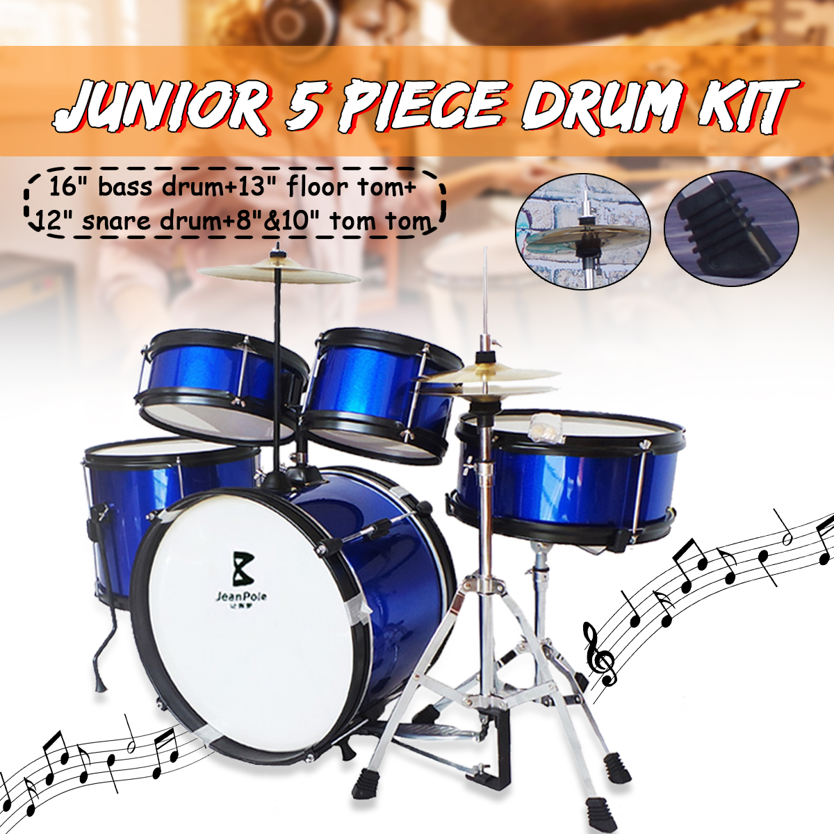"""Kids Junior Drum Set 5 Pcs Complete Cymbals Size 16"""" Black New Drum Musical Instruments Play Learning Educational Toy Gift"""
