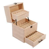 59 Grid Oil Storage Folding Wooden Box Three Layer Essential Oil Wooden Box Bottles Aromatherapy Container Metal Lock Jewelry