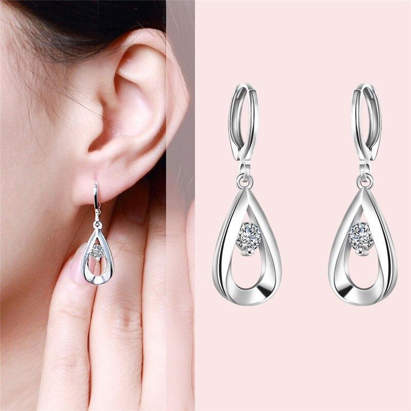 Free Shipping New Sale 925 STAMPED silver plated earrings fashion jewelry Teardrop-shaped drop Brincos de Prata bijoux femme