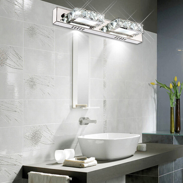 K9 crystal bathroom light fixtures led 6w square bath vanity wall k9 crystal bathroom light fixtures led 6w square bath vanity wall sconces light led crystal mirror aloadofball Image collections