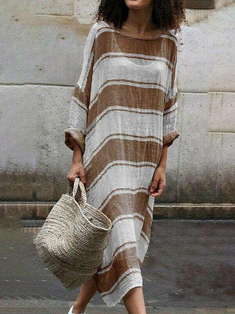 Uk Women Cotton Linen Maxi...