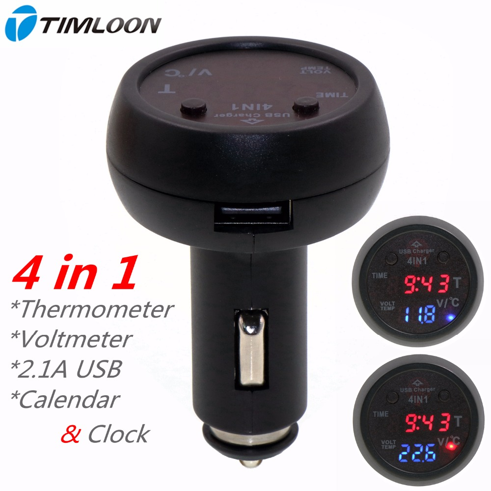 Newest <font><b>4in1</b></font> 12V Car Calendar Datetime Clock Display,Digital Thermometer,Battery Monitor Voltmeter,2.1A Car Mounted <font><b>Usb</b></font> Charger image