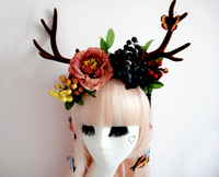 Big Lolita Simulated Antlers Reindeer Elk Hair Headband With Flowers Butterfly Decors Cosplay Photography Props Hair Accessories