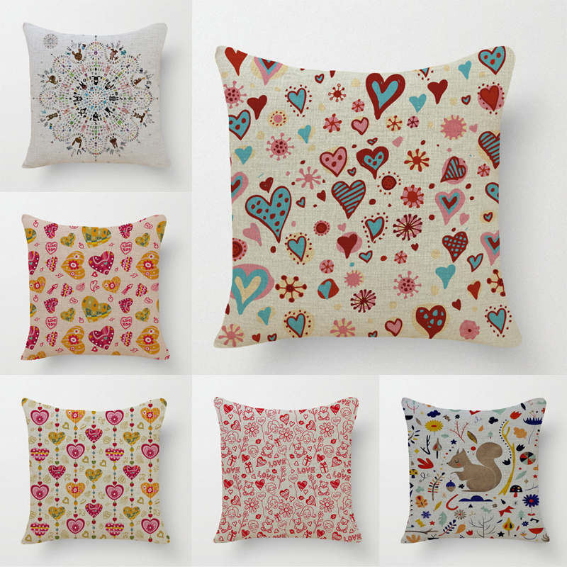 Cotton Linen European Small Fresh Printed Decorative Throw Pillows Cushion  Cover Case For Sofa Home Decor Almofadas 45x45cm