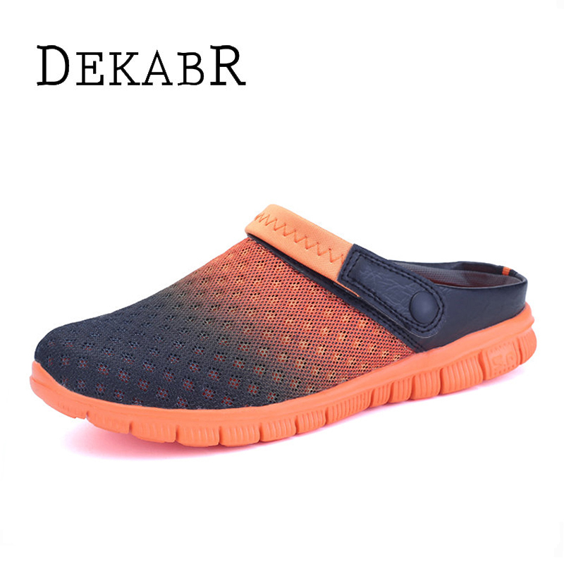 Big Size 36-46 Men Summer Shoes Sandals  New Breathable Beach Flip Flops Slip On Mens Slippers Mesh Lighted Unisex Shoes