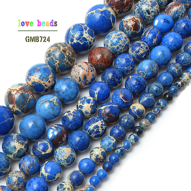 "Natural Stone Beads  blue Sea Sediment Round Loose Beads For Jewelry Making 15.5"" Pick Size 4 6 8 10 12mm Wholesale  (F00146)(China)"