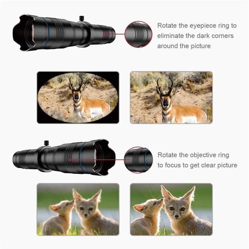 APEXEL HD 28X teleobjetivo Zoom lente de cámara de teléfono móvil + Mini trípode obturador remoto lente Monocular telescopio para todos los Smartphones