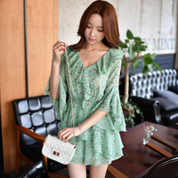 original rompers 2017 new spring high waist v neck ladies green floral printing new shorts jumpsuits chiffon women wholesale