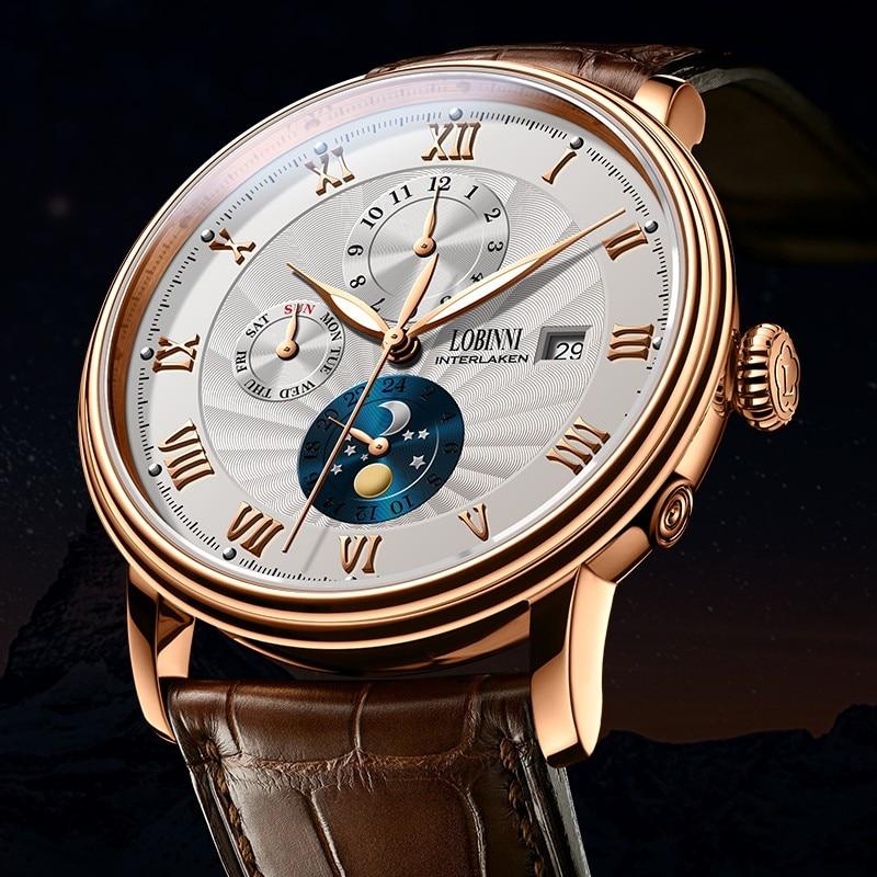 Nieuwe LOBINNI Zwitserland Mannen Horloges Luxe Merk Horloges Meeuw Automatische Mechanische Klok Saffier Maanfase L1023B 1-in Mechanische Horloges van Horloges op  Groep 3