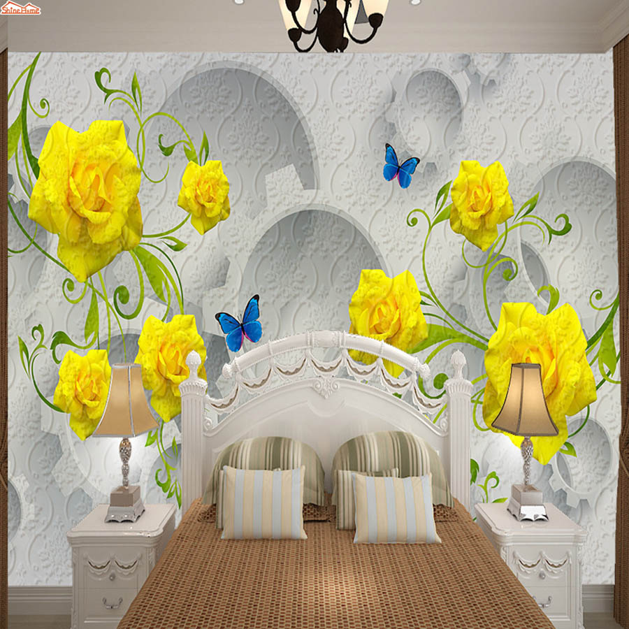 ShineHome-Modern 3d Photo Wallpaper Yellow Rose Flower 3d Wall Paper Mural Rolls Papel De Parede Para Quarto Papier Peint 3d shinehome modern waterfall natural wallpaper roll 3d wallpapers for wall 3 d walls paper rolls papier peint papel de parede 3d
