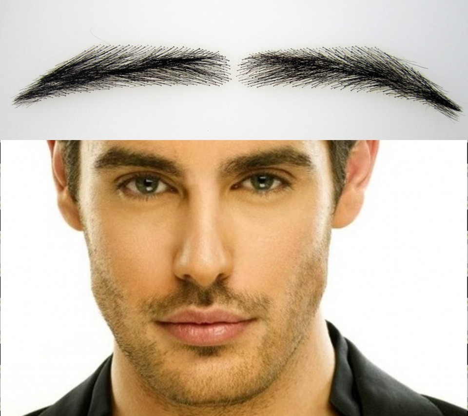 wholesale Human Hair Lace Men Eye Brows With Dark Brown/eyebrow Tattoo Free Ship 2018 Sobrancelha Eye Brow Wig Shapes For Men Clear-Cut Texture