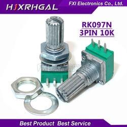 5 шт. RK097N 10 к один связанный потенциометр B10K с переключателем аудио 3-контактный вал 15 мм усилитель уплотнительный потенциометр