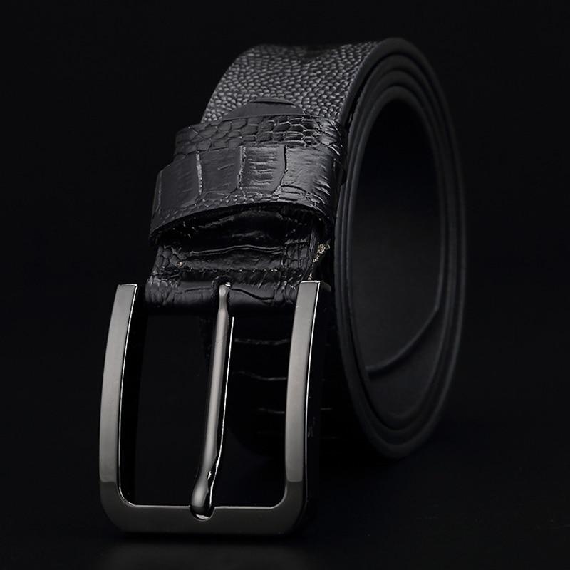 Image 2 - GFOHUO Luxury Alligator Grain Men Belt Pin Buckle Genuine leather Belt For men Vintage Male For men Belt Cinto machoMens Belts   -