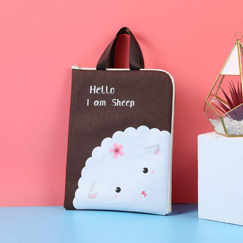 Cute Cartoon Colorful Portable File Bag Zipper Document Bag File Category Folder Stationery Filing Product School Office Supply in Storage Bags from Home Garden