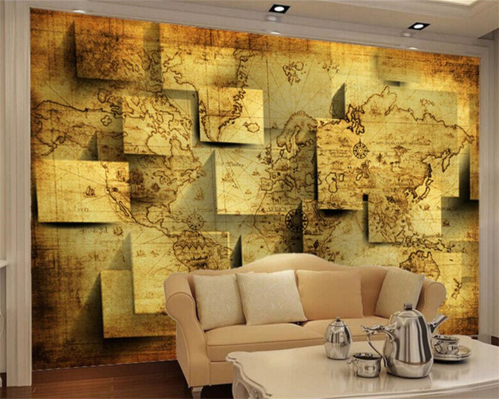 Beibehang Custom Wallpaper Living Room Bedroom Mural 3D World Map Navigation Chart TV Wall Decorative Painting 3D wallpaper beibehang wallpaper custom home decorative backgrounds powerful bear paintings living room office hotel mural 3d floor painting