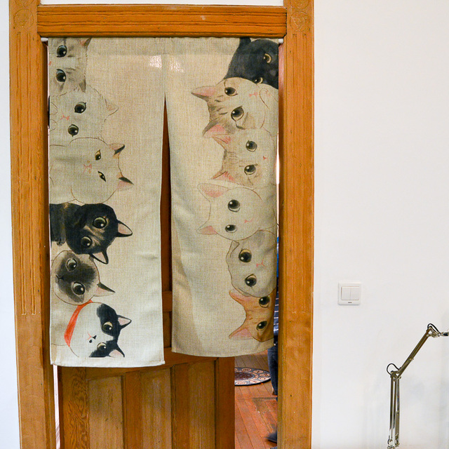 85cm X 120cm So Many Cats Modern Anese Door Curtain Room Divider Cotton Linen Blackout Curtains Rideaux Cortina Onesa