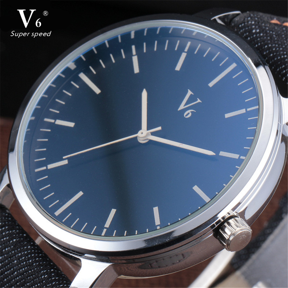 2016 V6 Luxury Brand Quartz Watch Casual Fashion Denim Leather Clock Reloj Masculino Men Watches Business Sports Wristwatches 2016 best selling yazole luxury brand quartz watch casual fashion leather watches reloj masculino men watch sports wristwatch