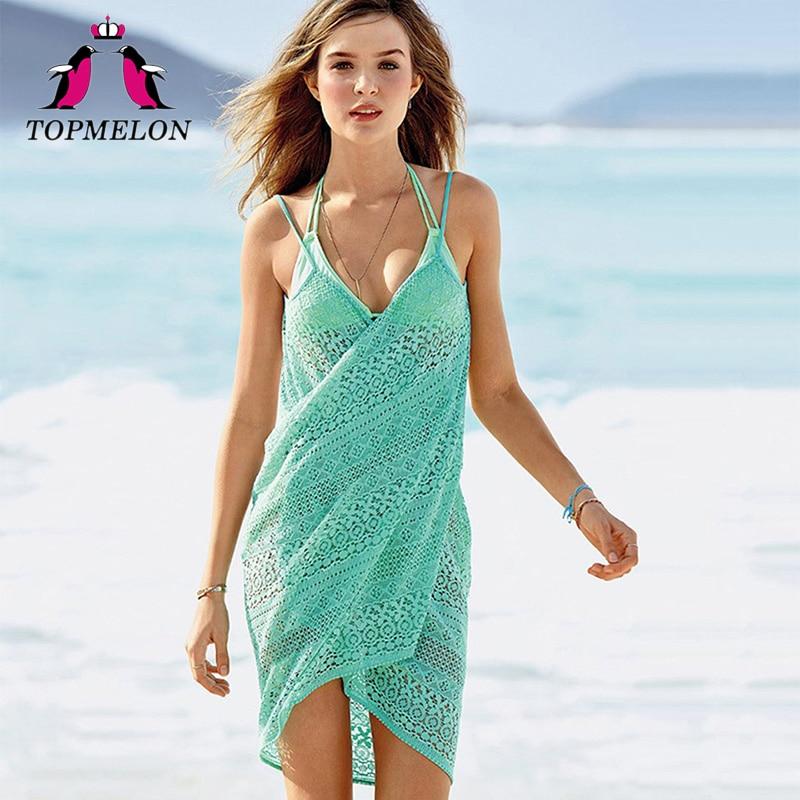 TOPMELON 2017 New Beach Tunic Women Beachwear Female Sexy Cover Up Summer Swimsuit Dress Beach Shirt Lace Bikini Cover Up Dress