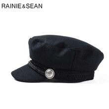 3ed57a61 RAINIE SEAN Women Baker Boy Cap Black Ladies Military Hat Wool British  Style Painter Cap Spring