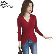 UHYTGF chompas de mujer para el invierno свитер, вязаный пуловер, Женский Осенний тонкий свитер с длинным рукавом, эластичный сексуальный свитер 550