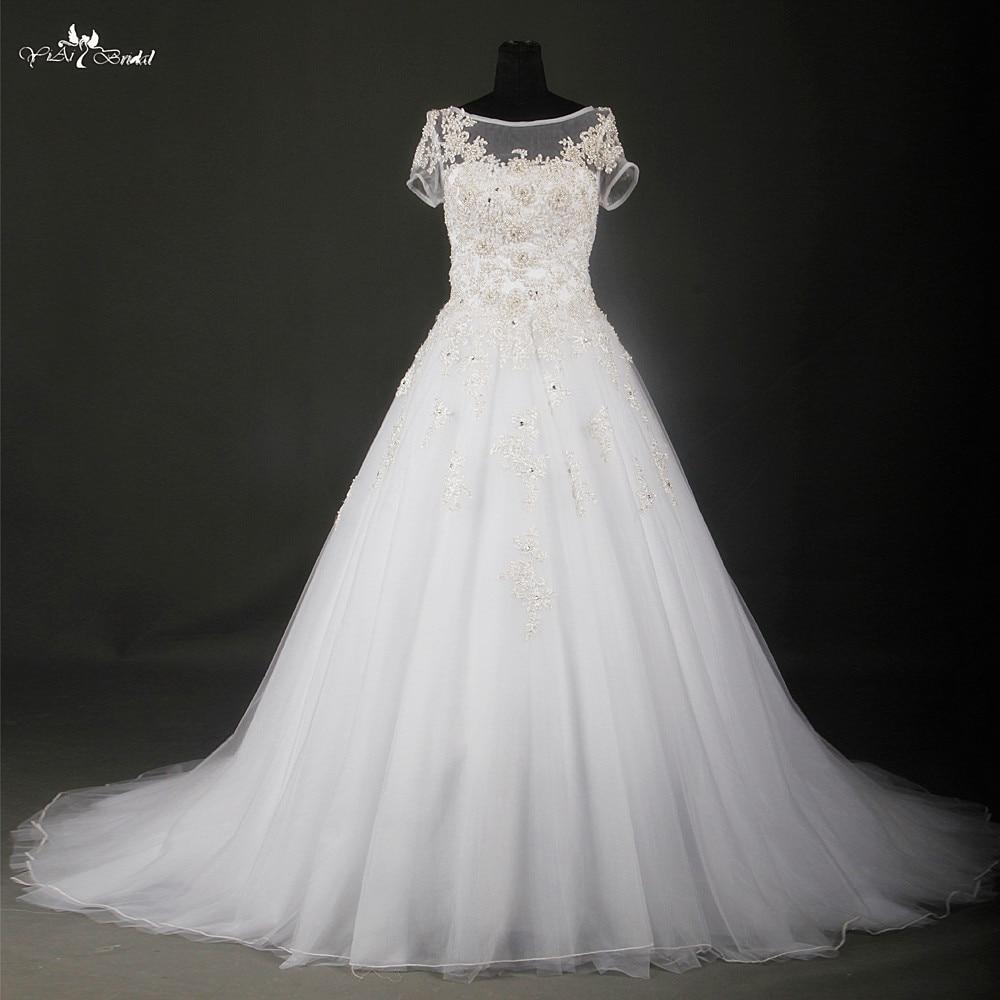 Elegant White And Silver Wedding Dresses Short Sleeve Lace Wedding ...
