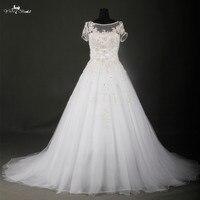 Elegante Branco E Prata Vestidos De Casamento Manga Curta Lace Wedding Dress RSW705