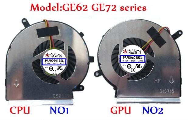 PAAD06015SL Fan For MSI GE62 GE72 PE60 PE70 GL62 N303 N302 GE60 A166 MS-16GA 16GC MS-16GH MS-16GF MS-16GD GL72 GE70 1756 Series