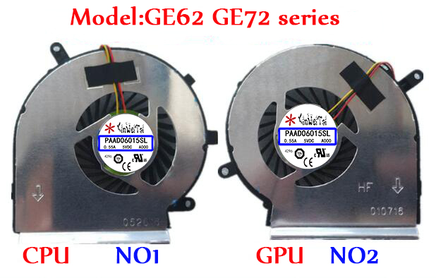 Ventilador Para MSI PAAD06015SL GE62 GE72 PE60 PE70 GL62 N303 N302 GE60 A166 MS-16GH MS-16GF MS-16GD GL72 16GC MS-16GA GE70 1756 series