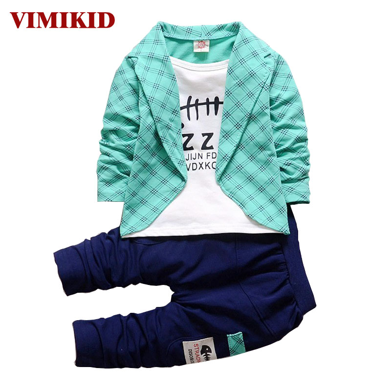 VIMIKID 2017 Spring Autumn Toddler Baby Boy Formal Clothing Fashion Sets Newest Boys Clothes Suit 2PCS Children's Infant Clothes 2018 spring clothing set newborn baby boy 1 year birthday party costume toddler boys fashion outerwear children s clothes suit