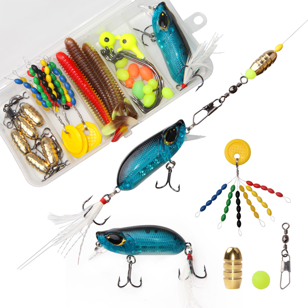 36Pcs Fishing Accessories Kit With Hooks Swivels Lures Crankbait Snaps Sinkers Beads Fishing Tackle Box