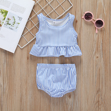 цена на OKLADY 2019 Summer Baby Girl Swimsuit Pink Stripe Ruffle 2 Pieces Set Swimwear Blue Stripe Cute Family Swimming Suit 6M - 2T