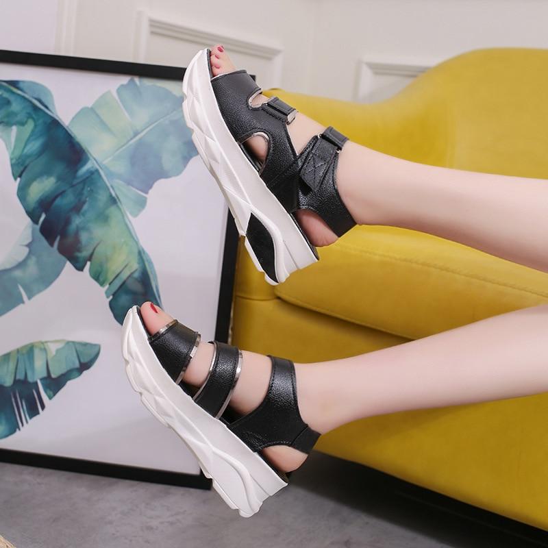 Offerta Platform stile donna bianco Confortevole Infradito Scarpe Beige Nuovo nero 2019 Mujer Sandalias Fujin speciale Sandali Estate z0p5qaw