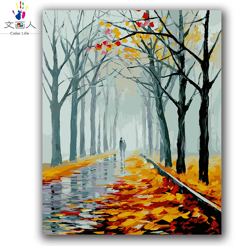 abstract style Colorful Spring,summer,autumn and winter partner diy digital oil painting ...