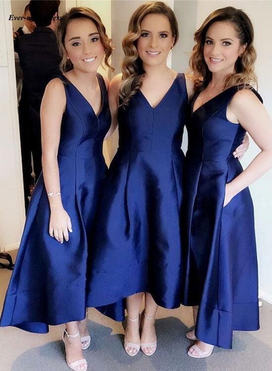 2019 High Low Country   Bridesmaid     Dresses   V Neck A Line Satin Royal Blue Wedding Guest Party Gowns Vestido madrinha Cheap Custom