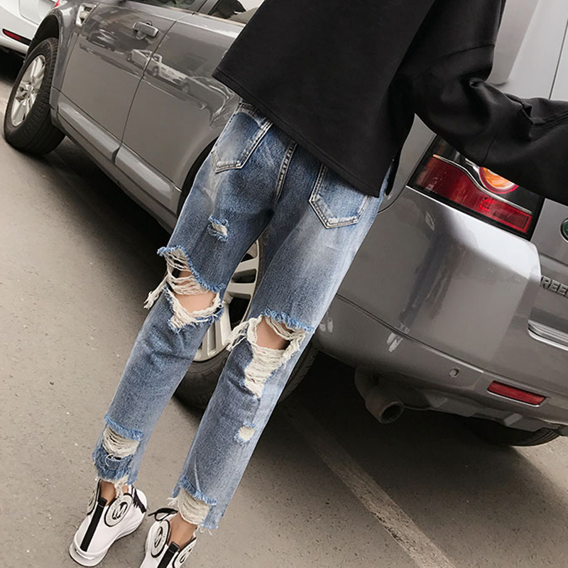 Plus size Back Hole ripped Boyfriend   Jeans   for women High Waist Loose Destroyed   jeans   Distressed Denim Pants Tattered Design